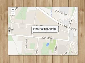 Wegweiser zur Pizzeria Bei Affred